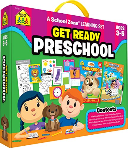 School Zone - Get Ready Preschool Learning Set - Ages 4 to 6, Preschool to Kindergarten, Colors, Shapes, Alphabet, Numbers, Letters, Coloring, Tracing, and More]()