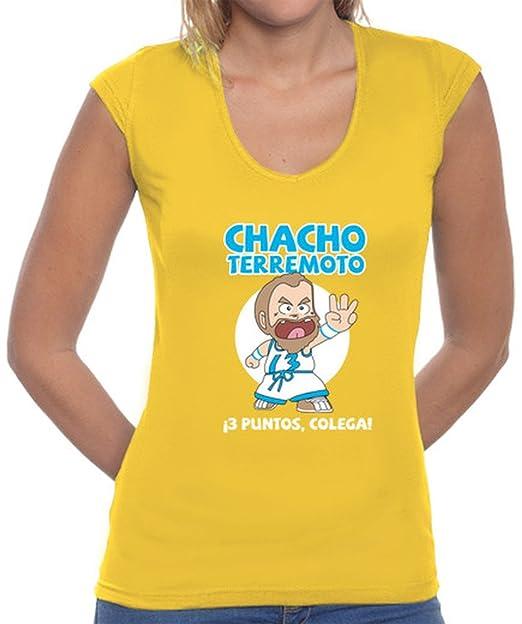 latostadora Camiseta Caiseta Chica Chacho Terremoto - Camiseta Mujer, Cuello en V Amarillo Mostaza Talla L: Amazon.es: Ropa y accesorios