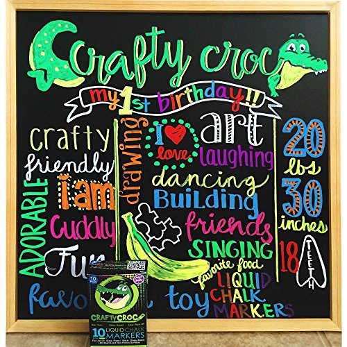 amazoncom crafty croc liquid chalk markers 10 pack of neon chalk pens for nonporous chalkboards bistro boards glass and windows