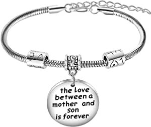 Nimteve Mom Gifts from Son The Love Between A Mother and Son is Forever Charm Bracelet