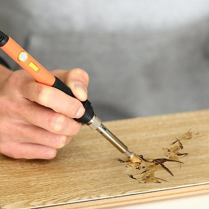 Kit de quemador de madera Kit de soldador | Incluye temperatura ajustable Pluma de soldador Talla / Relieve / Consejos de soldadura Puntas de soldadura ...