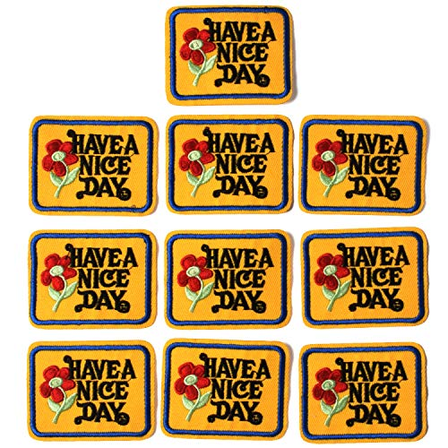 J.CARP Have a Nice Day Patches, Size 2.4 by 2.0 Inch, 10PCS