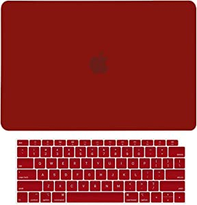 """TOP CASE MacBook Air 13 Inch Case 2020 2019 2018 Release A1932/A2179, 2 in 1 Bundle Rubberized Hard Case + Keyboard Cover Compatible MacBook Air 13"""" Retina Display fits Touch ID, Wine Red"""