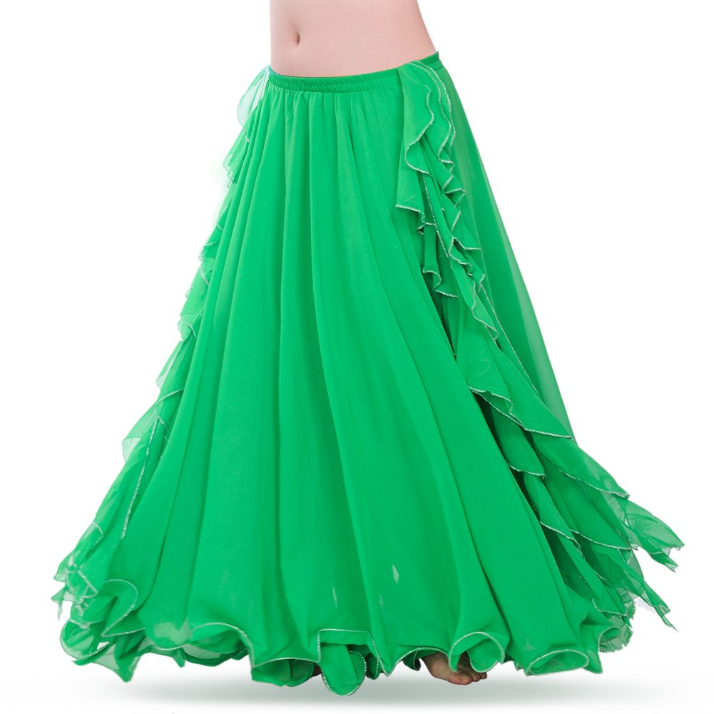 ROYAL SMEELA Women's Belly Dance Chiffon Skirt ATS Voile Maxi Full Dress Bellydance Skirts Green One Size by ROYAL SMEELA