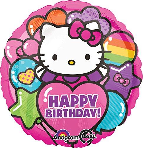 Anagram International Hello Kitty Rainbow Happy Birthday Foil Balloon Pack, Multicolor