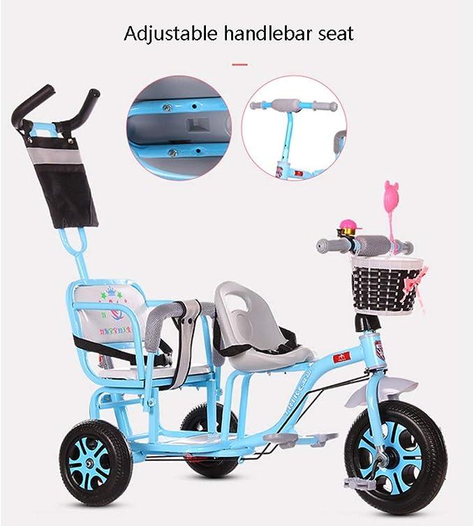 Jiji Doppel Kinder Dreirad Zwillings Kinderwagen Zweites Kind Dreirad Fahrrad Kinderwagen Gro/ße verstellbare Kinderwagen Color : Black