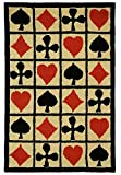 2'6''x8' Ivory Black Red Poker Cards Playing Cards Ace Spades Club Diamonds Hearts Printed Runner Rug, Indoor Graphical Pattern Living Room Rectangle Carpet, Graphic Art Themed, Soft Wool Material