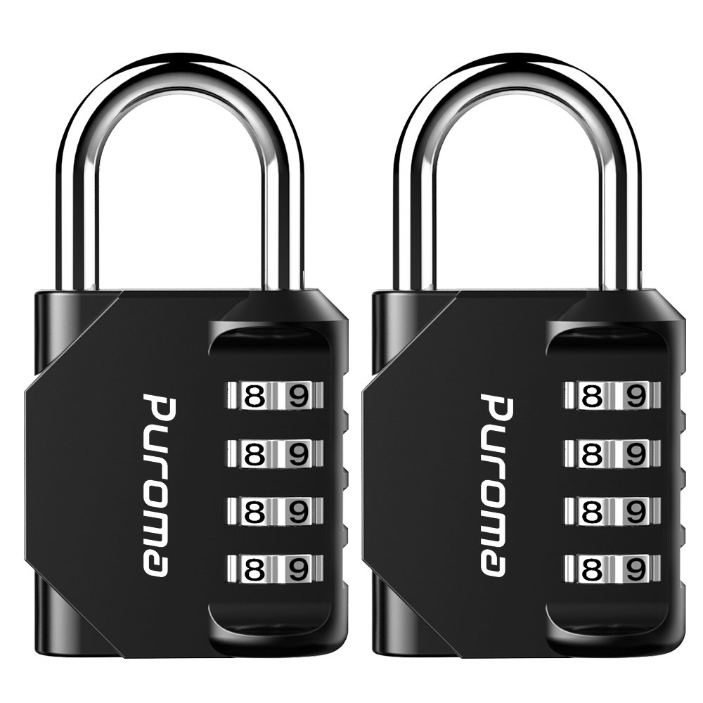 Puroma 2 Pack Combination Lock 4 Digit Padlock for School Gym Locker Sports Locker Fence Toolbox Case Hasp Storage Black