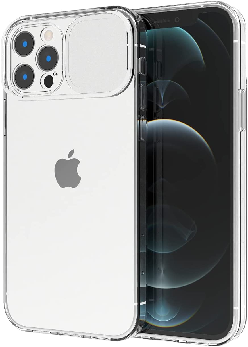 ANHONG Compatible with iPhone 12 Pro Max Clear Case, 6.7 inch Camera Protection Case with Slide Lens Cover, Hard PC & TPU Bumper Hybrid Protective Cover Case