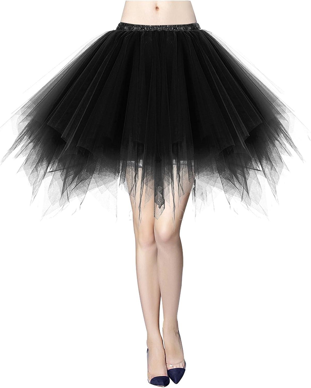 Bridesmay Womens Short Party Tutu Ballet Bubble Dance Skirt Retro Petticoat Skirt
