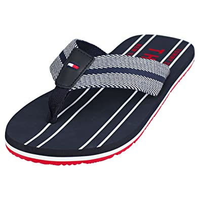 b5187095b860b3 Tommy Hilfiger Stripes Print Th Beach Sandal Mens Flip Flops Navy Red Blue  - 40 EU