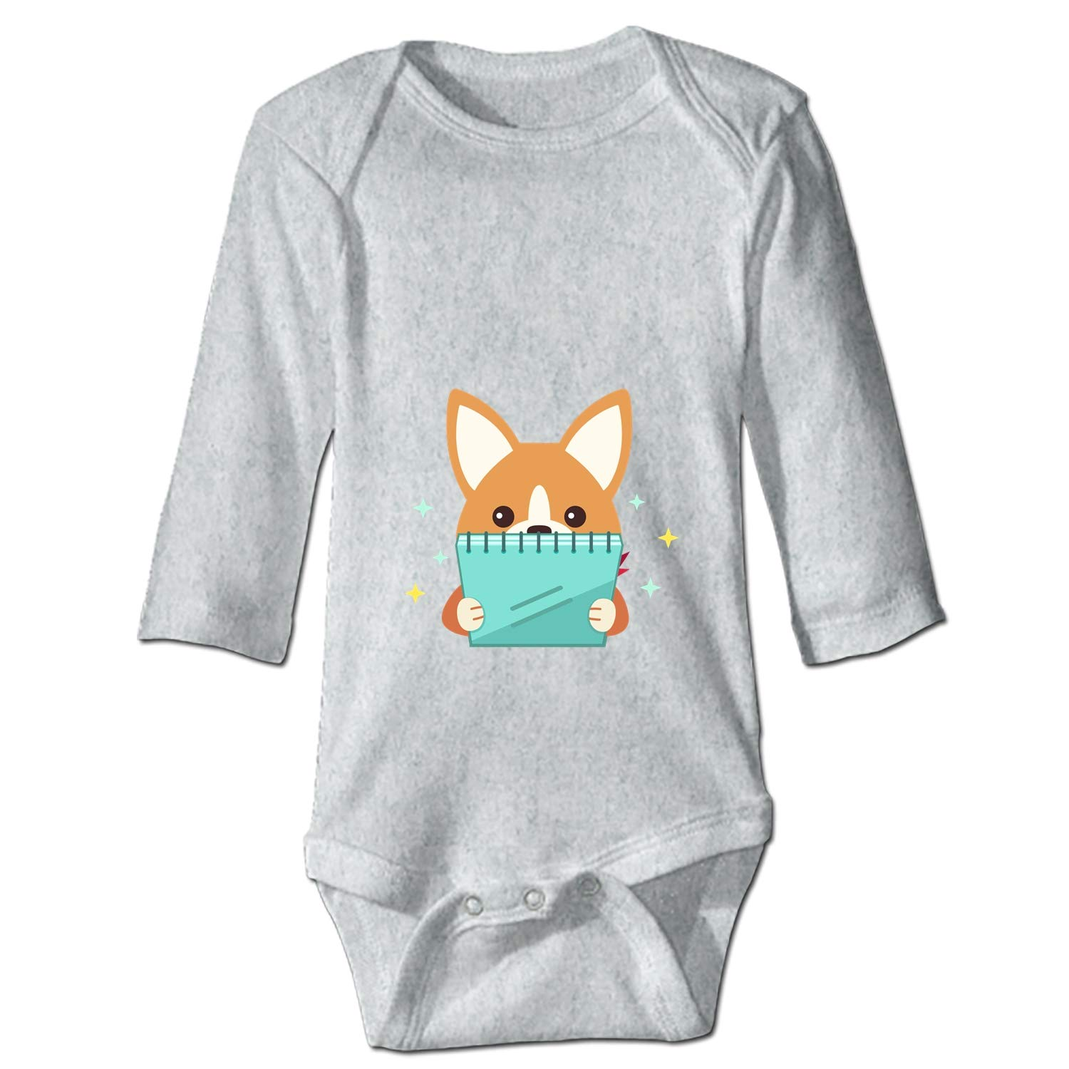 XASFF Baby Cotton Bodysuits French Bulldog Long-Sleeve One-Piece Suit 6M 24M