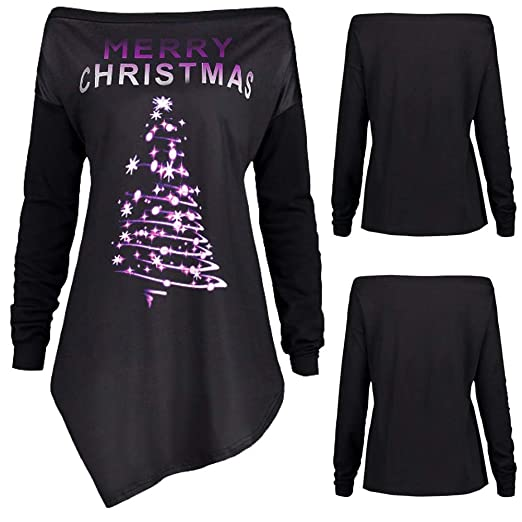 e70451e4f4d Malbaba Christmas Blouse, Merry Christmas Letter Print Off Shoulder T-Shirt  Top Blouse at Amazon Women's Clothing store: