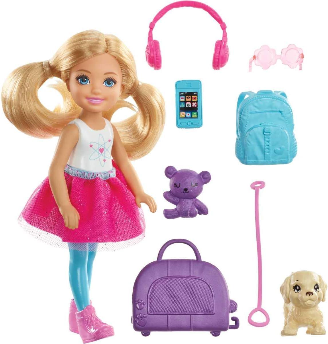 Barbie Chelsea Vamos de viaje con perrito, muñeca con accesorios, regalo para niñas y niños 3-9 años (Mattel FWV20)