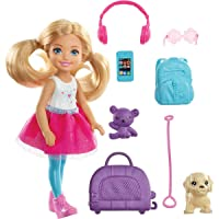 Barbie Chelsea Travel Doll, Blonde, with Puppy, Carrier & Accessories, for 3 to...