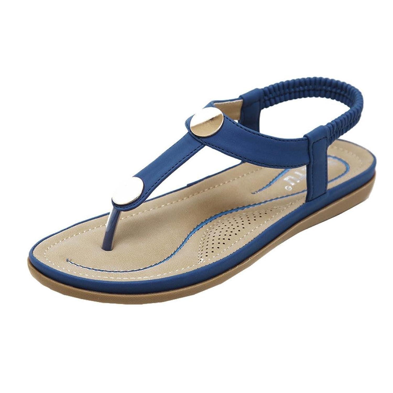 Zarupeng Classic Damen Zehentrenner Frauen Flache Schuhe Flip Flops Bohemian Slippers Sandalen Rivet Peep-Toe...