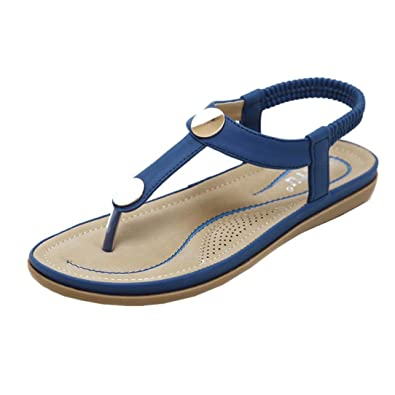 Zarupeng Classic Damen Zehentrenner, Frauen Flache Schuhe Flip Flops Bohemian Slippers Sandalen Rivet Peep-Toe Outdoor-Schuhe Einfache Strandsandalen (38 EU, Khaki)