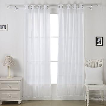 Deconovo Lot de 2 Rideaux Voilages Blanc Decoration Chambre Salon à ...