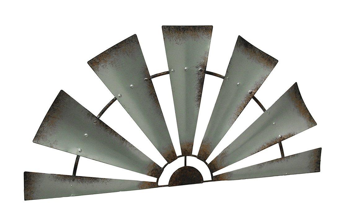 LL Home Metal Windmill Semi-Circle Wall Home Decor, One Size, Gray