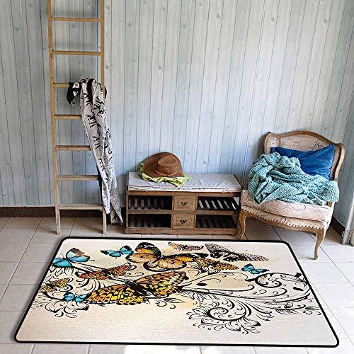 Bath Rug Butterfly Monarch Butterflies Vintage Artsy Damask Inspired Artistic Design Breathability W59 xL82.5 Light Brown Sky Blue Black - Monarch Futon Mattress