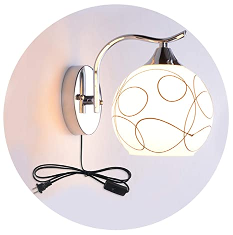 Wall Lamp With Plug In Switch E27 Simple Modern Led Living Room Staircase Balcony Wall Sconces Bedroom Bed Lamp White Matte Glass Shade