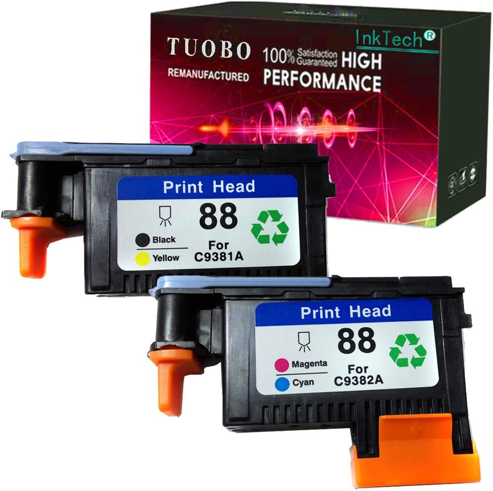 Tuobo H-P 88 Printhead 2PK C9381A C9382A Remanufactured Compatible for H-P Officejet with Pro K5400 L7550 L7580 L7590 L7650 L7680 L7750 L7780 L7790 Printer(1BY, 1MC)