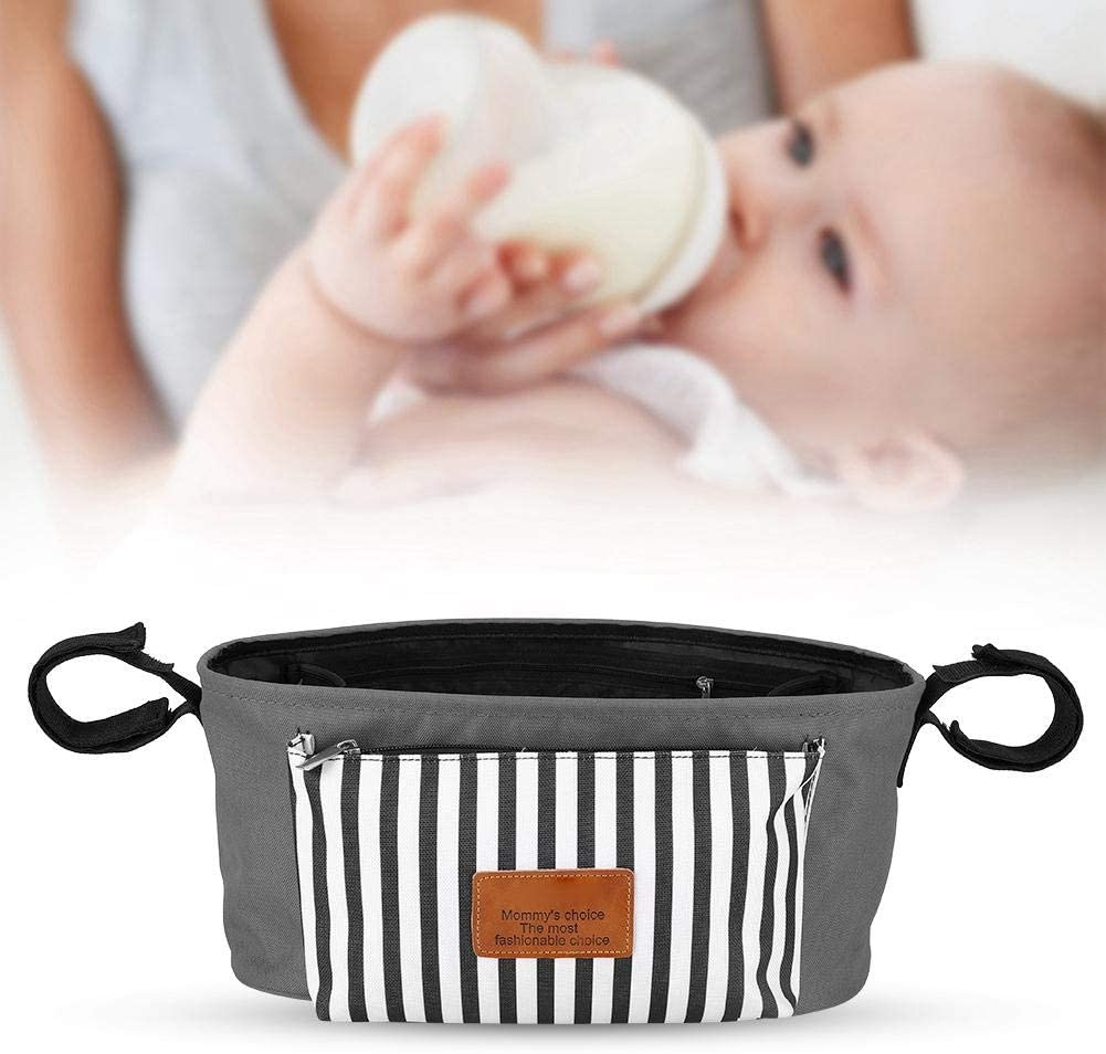 gris Organizadores de cochecito de beb/é Bolsa de pa/ñales impermeable Gran almacenamiento Multifuncional silla de paseo Mommy Shoulderbag