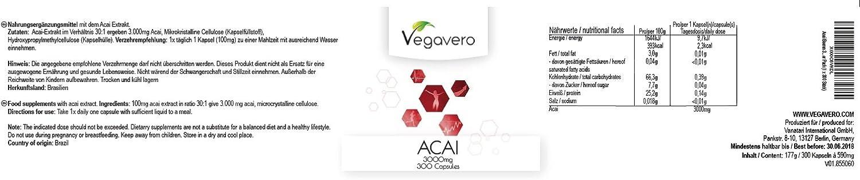 Acai de Vegavero | quemagrasa - antioxidante - energético | 300 cápsulas calidad certificada | dosis alta vegano: Amazon.es: Alimentación y bebidas