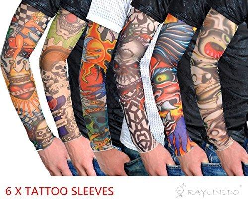 RayLineDo® 6X Temporary Tattoo Fancy Funky Fashion Costume Novelty 92% Nylon and 8% Lycra Tattoo Arm Leg Stockings Sleeves