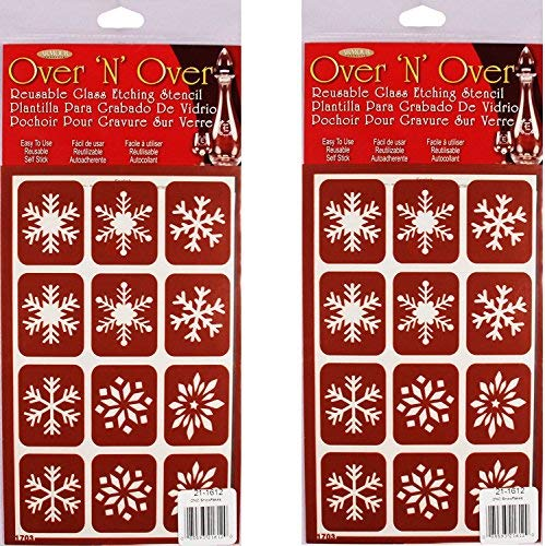Armour Etch Over N Over Stencil, Snowflakes (2 Pack)