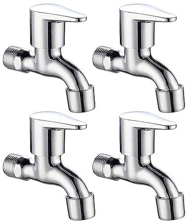Bath Guru Bib Cock Bathroom Kitchen Tap with Foam Flow (Chrome Plated) (Pack of 4)