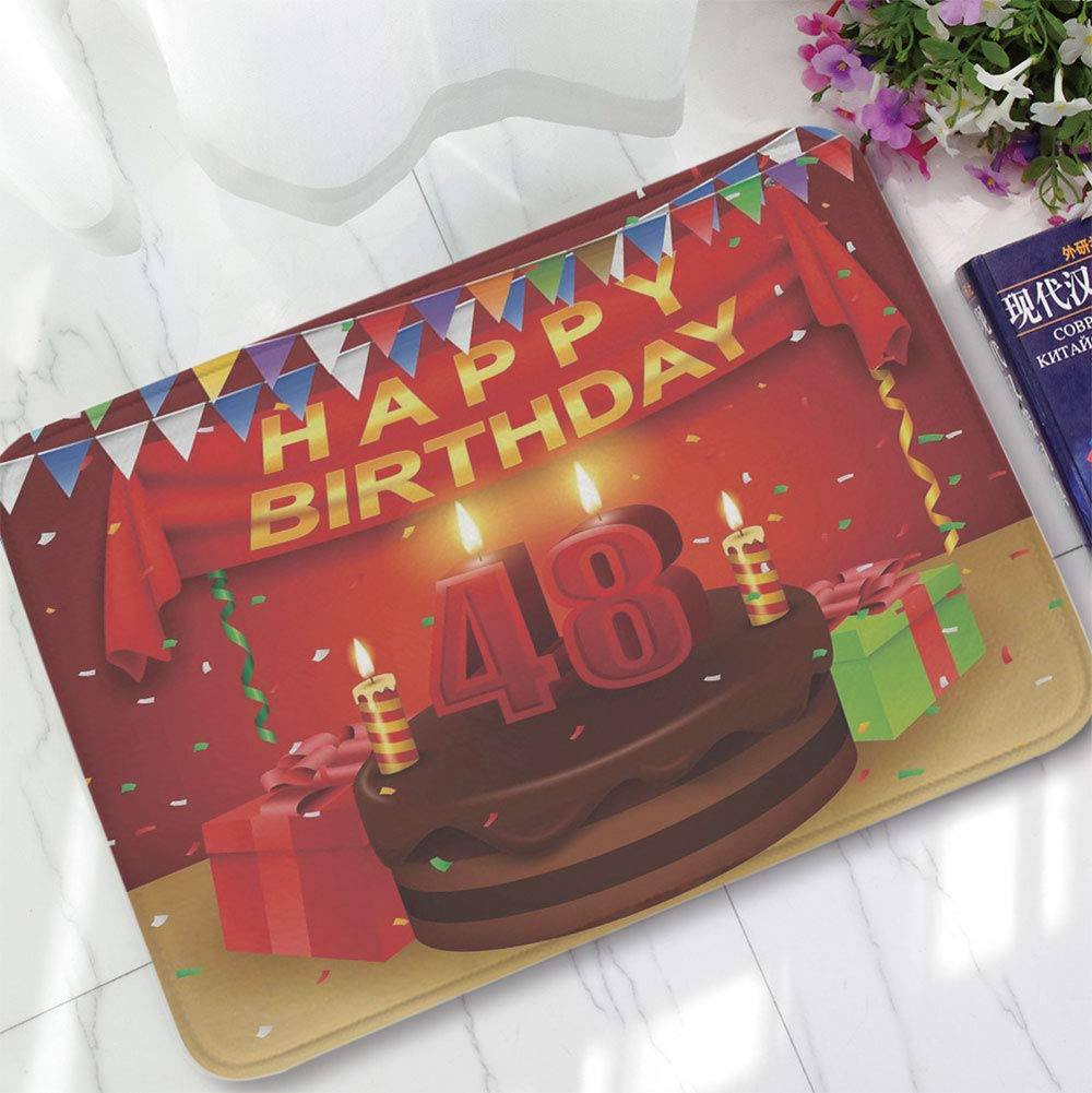 YOLIYANA Short Fur Floor Mat,48th Birthday Decorations,for Home Meeting Room,15.75''x23.62'',Presents Chocolate Cake with Candles Party