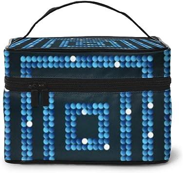 Concéntrico Cuadrado Azul Mosaico Lentejuelas Brillo Viaje Maquillaje Tren Estuche Maquillaje Cosmético Estuche Organizador Portátil: Amazon.es: Equipaje