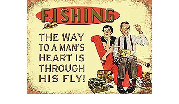 Doble sentido, gracioso letrero doble lo que significa. man con su fly moscas, pesca engranaje y molestia mujer wife en fondo.