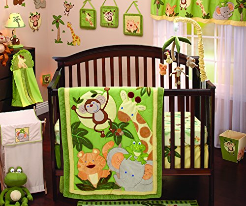 Jungle Baby Bedding - NoJo Jungle Babies 9 Piece Nursery Crib Bedding Set, Green/Yellow/Tan/Brown