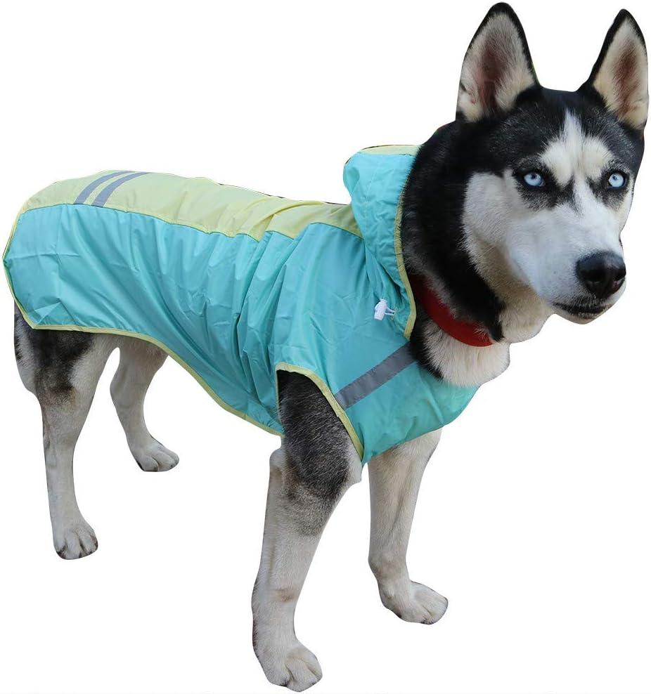 Pet Raincoat,Hooded Waterproof Lightweight Reflective Rain Jacket Dog Poncho