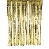 SUNBEAUTY Big 3ft x 8ft Fringe Foil Curtain Party Tinsel Backdrop Party Wedding Decoration (Gold)