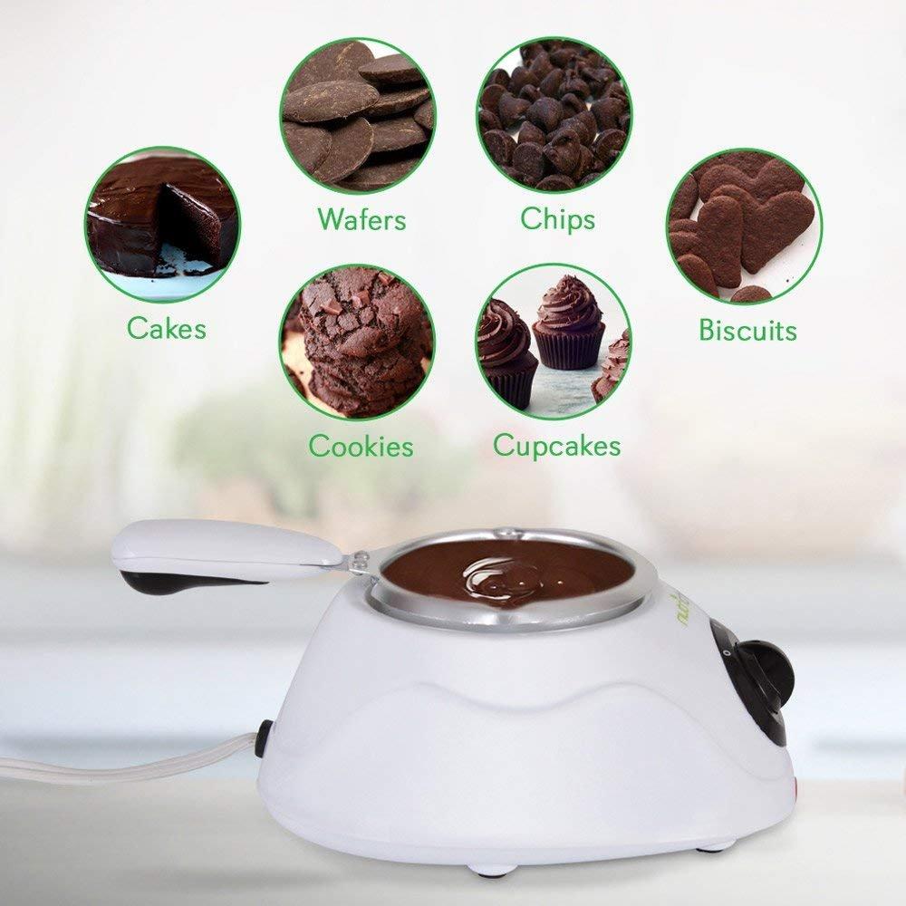 NutriChef PKFNMK14.101 Chocolate Melting Warming Fondue Set, Black by NutriChef