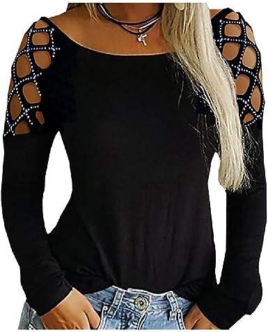 dahuo Blusa de Mujer sólida con Hombros Descubiertos y Tirantes Camisa Negra pequeña Negro Negro (L: Amazon.es: Ropa y accesorios