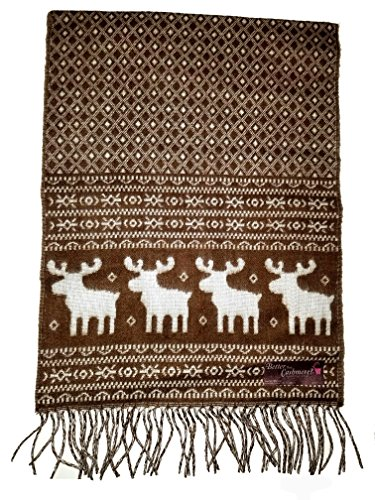 Elk Moose Snowflake Winter Scarf Reversible Ugly Sweater Christmas Party (Brown - Elk Brown