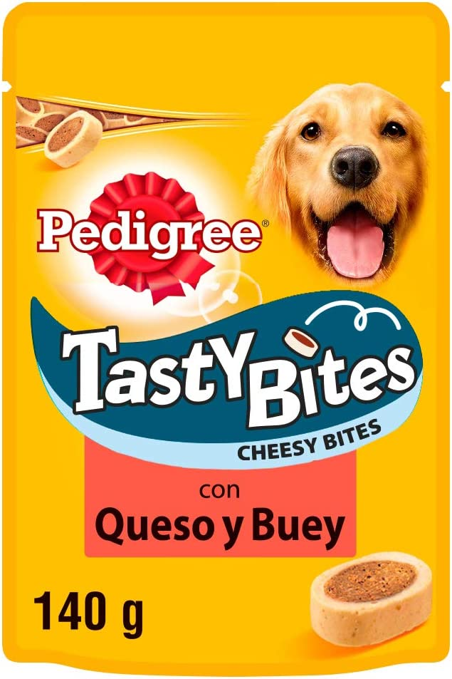 Pedigree Snacks Tasty Mini para educar a tu perro sabor queso y buey (Pack de 6 x 140g)