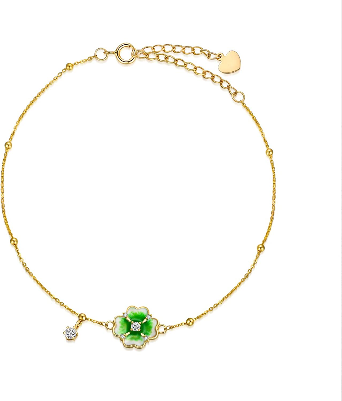 Four Leaf Clover 14k Solid Gold Bracelet
