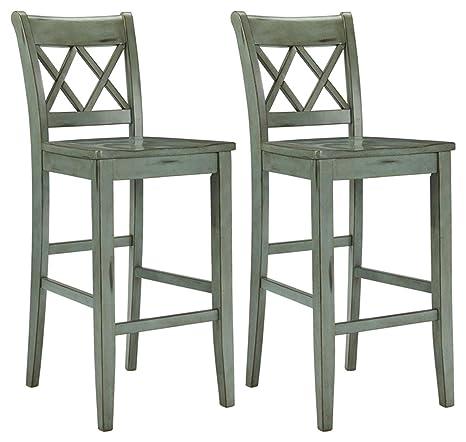 Ashley Furniture Signature Design - Mestler Bar Stool - Pub Height -  Vintage Casual Style - Set of 2 - Blue / Green (Renewed)