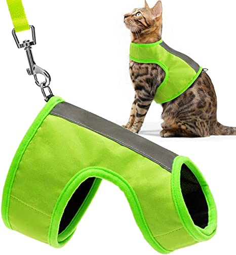 Safety Traffic Soft Nylon Adjustable Vest for Pet Small Dogs Fluorescent Green EXPAWLORER Reflective Cat Jacket Harness with Leash Set for Walking