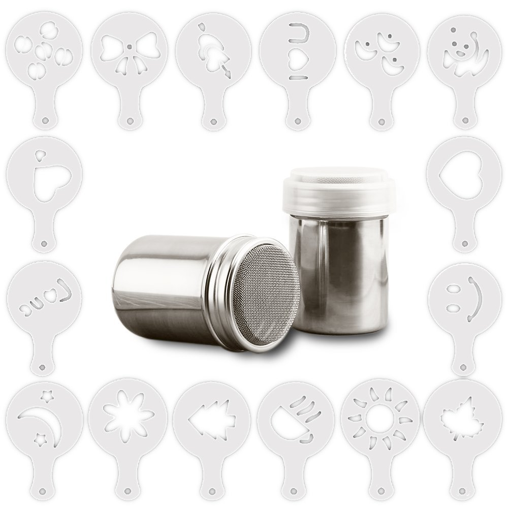 homEdge 2 Pcs of stainless Steel Powder Dredges with 16 Pcs Coffee Printing Molds, Cocoa Powder Shaker and Garland Molds with 16 patterns for Latte, Mocha, Cuppucino, Latte Accessories