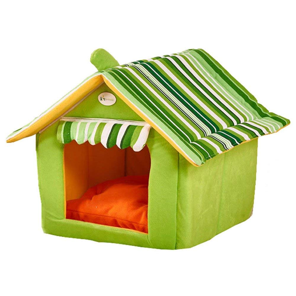Green L(50x45cm) Green L(50x45cm) HeiPlaine Pet Sofa Striped Removable Cover Mat Dog House Dog Beds For Small Medium Dogs Pet Products House Pet Beds For Cat (color   Green, Size   L(50x45cm))