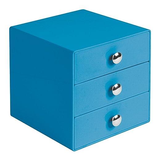 120 opinioni per InterDesign 35366EU Organizzatore 3 Cassetti, Plastica, Blu, 16.5x16.5x16.5 cm