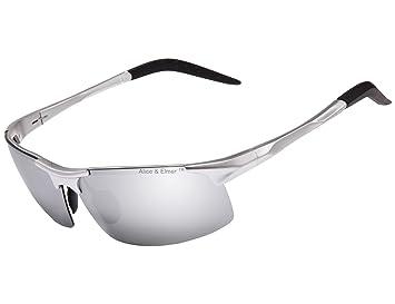 00f526277b Alice & Elmer Gafas de sol deportivas polarizadas para hombre con  ultraligero plata marco espejado plata