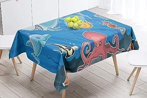 "GANKE Sea-Horse Waterproof Vinyl Tablecloth Underwater World Cartoon Octopus Shark Sea Reef Crab Horse Rectangle Stain-Proof Oil-Proof Heavy Duty Table Cloth 60"" X 84""Tablecloth Sea Water Blue"