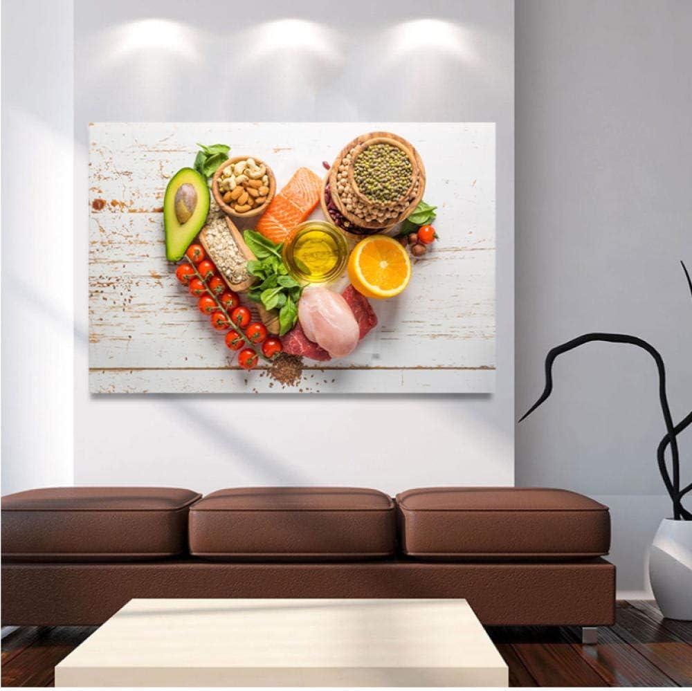wcyljrb pintura al óleo Fruta Verdura Nuez Comida Lienzo Carteles Impresiones Arte de la pared Pintura Oleo Cuadro decorativo Cocina moderna Decoración del hogar-60cmx90cm